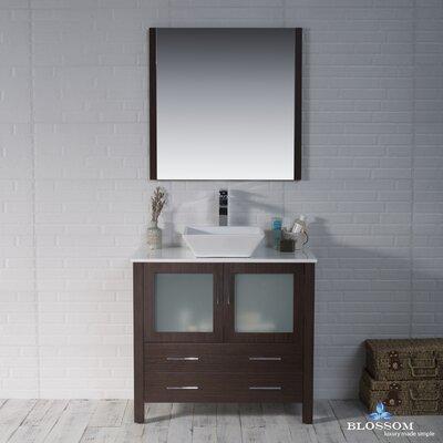Mance 35 Single Bathroom Vanity Set with Mirror Base Finish: Wenge