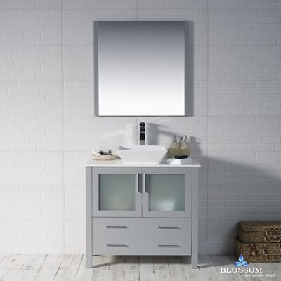 Mance 35 Single Bathroom Vanity Set with Mirror Base Finish: Metal Gray