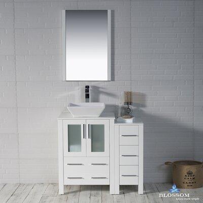 Mance 36 Single Bathroom Vanity Set with Wood Framed Mirror Base Finish: Glossy White