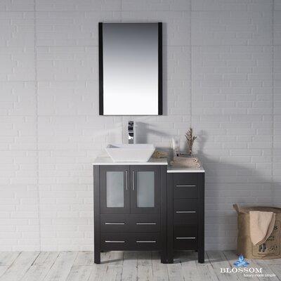 Mance 36 Single Bathroom Vanity Set with Wood Framed Mirror Base Finish: Espresso