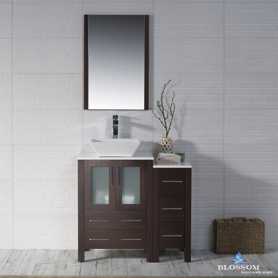 Mance 36 Single Bathroom Vanity Set with Wood Framed Mirror Base Finish: Wenge