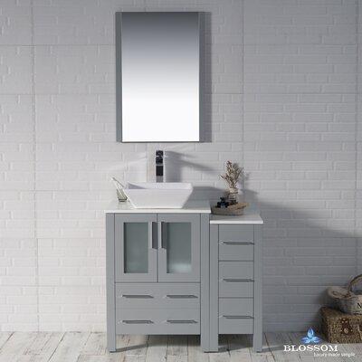 Mance 36 Single Bathroom Vanity Set with Wood Framed Mirror Base Finish: Metal Gray