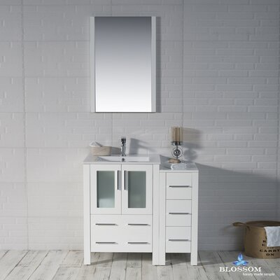Mance Modern 36 Single Bathroom Vanity Set with Mirror Base Finish: Glossy White