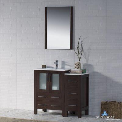 Mance Modern 36 Single Bathroom Vanity Set with Mirror Base Finish: Wenge