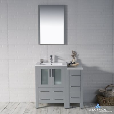 Mance Modern 36 Single Bathroom Vanity Set with Mirror Base Finish: Metal Gray