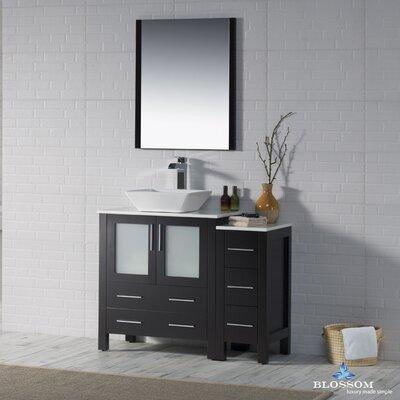 Mance Modern 41 Single Bathroom Vanity Set with Mirror Base Finish: Espresso
