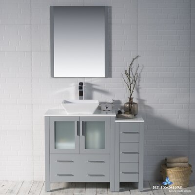 Mance Modern 41 Single Bathroom Vanity Set with Mirror Base Finish: Metal Gray