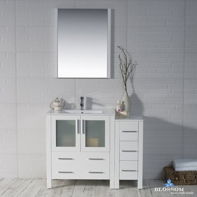 Mance 41 Single Bathroom Vanity Set with Mirror Base Finish: Glossy White