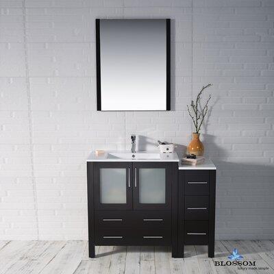 Mance 41 Single Bathroom Vanity Set with Mirror Base Finish: Espresso
