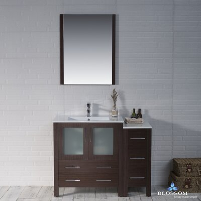 Mance 41 Single Bathroom Vanity Set with Mirror Base Finish: Wenge