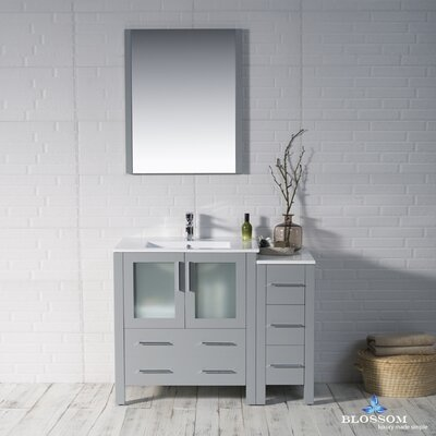 Mance 41 Single Bathroom Vanity Set with Mirror Base Finish: Metal Gray