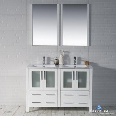 Mance Modern 47 Double Bathroom Vanity Set with Mirror Base Finish: Glossy White