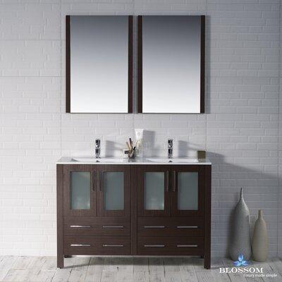 Mance Modern 47 Double Bathroom Vanity Set with Mirror Base Finish: Wenge