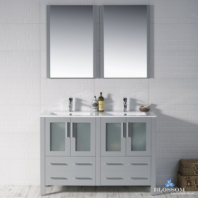 Mance Modern 47 Double Bathroom Vanity Set with Mirror Base Finish: Metal Gray