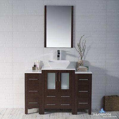 Mance Modern 48 Single Bathroom Vanity Set with Mirror Base Finish: Wenge
