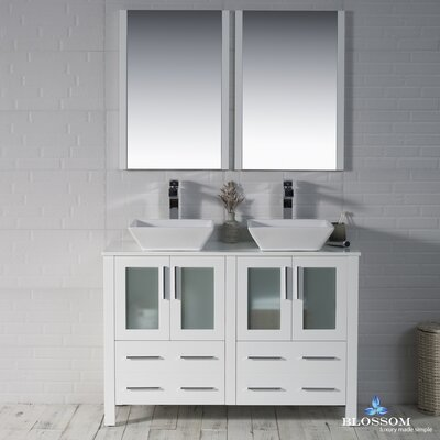 Mance 47 Double Bathroom Vanity Set with Mirror Base Finish: Glossy White