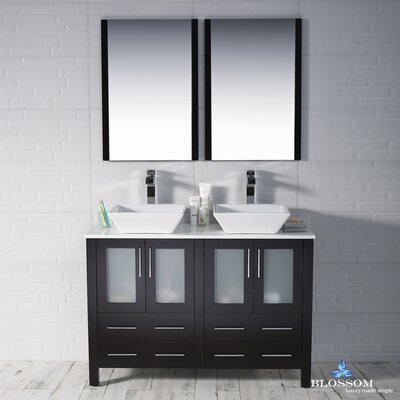 Mance 47 Double Bathroom Vanity Set with Mirror Base Finish: Espresso