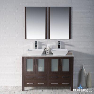 Mance 47 Double Bathroom Vanity Set with Mirror Base Finish: Wenge