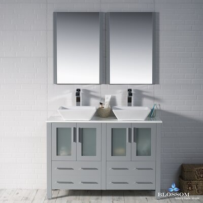 Mance 47 Double Bathroom Vanity Set with Mirror Base Finish: Metal Gray