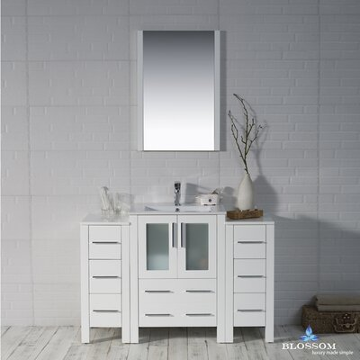 Mance 48 Single Bathroom Vanity Set with Mirror Base Finish: Glossy White