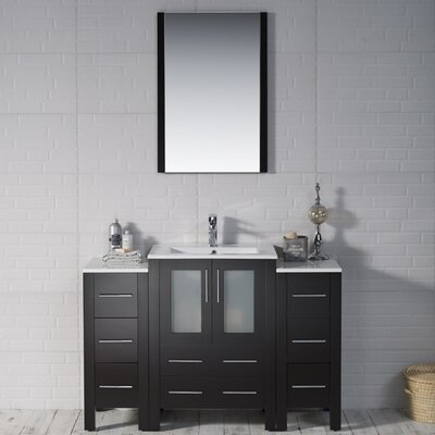 Mance 48 Single Bathroom Vanity Set with Mirror Base Finish: Espresso