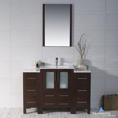 Mance 48 Single Bathroom Vanity Set with Mirror Base Finish: Wenge