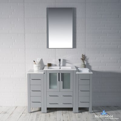 Mance 48 Single Bathroom Vanity Set with Mirror Base Finish: Metal Gray