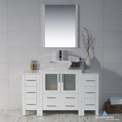Mance Modern 53 Single Bathroom Vanity Set with Mirror Base Finish: Glossy White