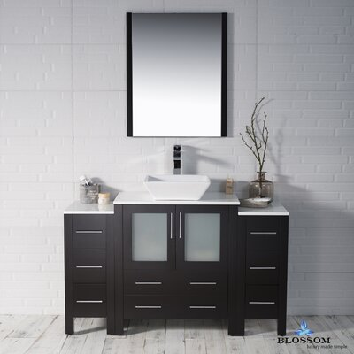 Mance Modern 53 Single Bathroom Vanity Set with Mirror Base Finish: Espresso