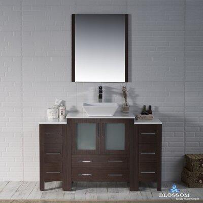Mance Modern 53 Single Bathroom Vanity Set with Mirror Base Finish: Wenge
