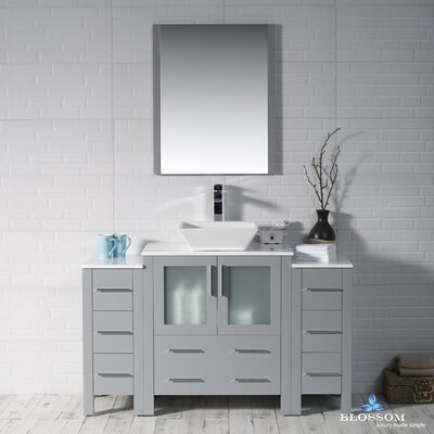 Mance Modern 53 Single Bathroom Vanity Set with Mirror Base Finish: Metal Gray