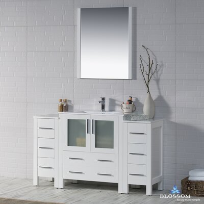 Mance 53 Single Bathroom Vanity Set with Mirror Base Finish: Glossy White