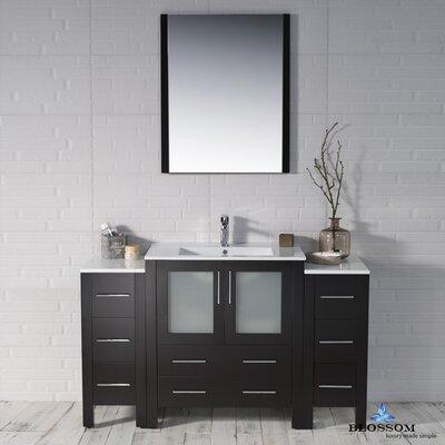 Mance 53 Single Bathroom Vanity Set with Mirror Base Finish: Espresso