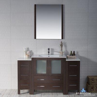 Mance 53 Single Bathroom Vanity Set with Mirror Base Finish: Wenge