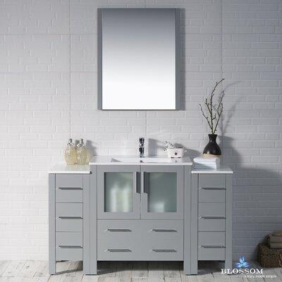Mance 53 Single Bathroom Vanity Set with Mirror Base Finish: Metal Gray