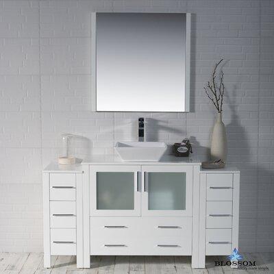 Mance 59 Single Bathroom Vanity Set with Mirror Base Finish: Glossy White