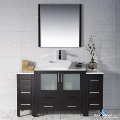 Mance 59 Single Bathroom Vanity Set with Mirror Base Finish: Espresso