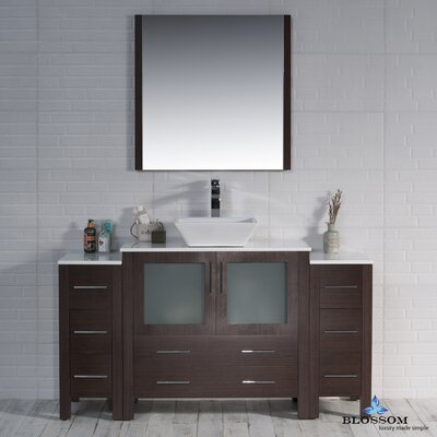 Mance 59 Single Bathroom Vanity Set with Mirror Base Finish: Wenge