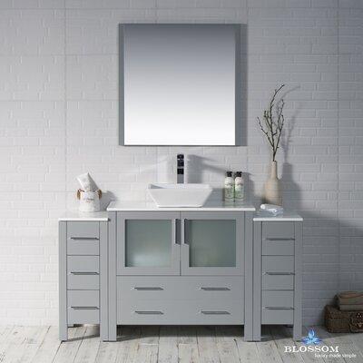 Mance 59 Single Bathroom Vanity Set with Mirror Base Finish: Metal Gray