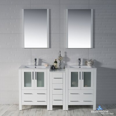 Mance 59 Double Bathroom Vanity Set with Rectangular Mirror Base Finish: Glossy White