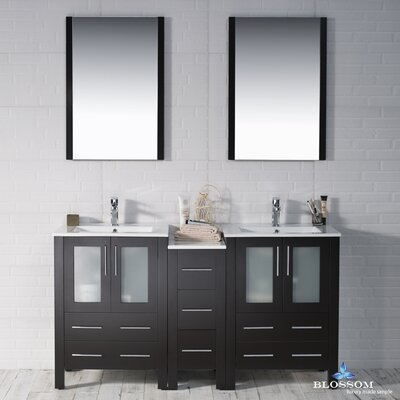 Mance 59 Double Bathroom Vanity Set with Rectangular Mirror Base Finish: Espresso