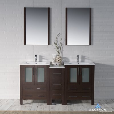 Mance 59 Double Bathroom Vanity Set with Rectangular Mirror Base Finish: Wenge