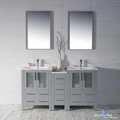 Mance 59 Double Bathroom Vanity Set with Rectangular Mirror Base Finish: Metal Gray