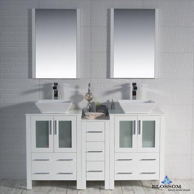 Mance 59 Double Bathroom Vanity Set with Mirror Base Finish: Glossy White