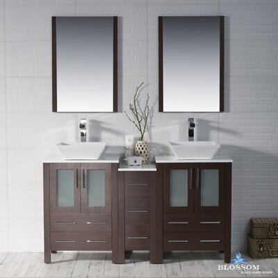 Mance 59 Double Bathroom Vanity Set with Mirror Base Finish: Wenge