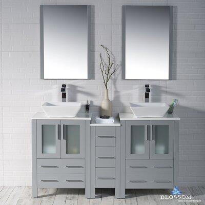 Mance 59 Double Bathroom Vanity Set with Mirror Base Finish: Metal Gray