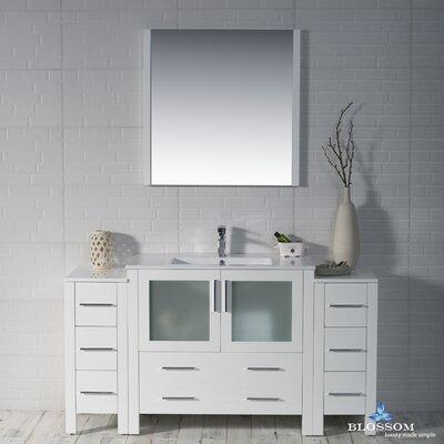 Mance Modern 59 Single Bathroom Vanity Set with Mirror Base Finish: Glossy White