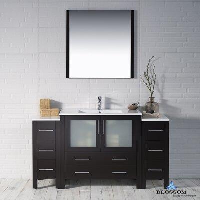 Mance Modern 59 Single Bathroom Vanity Set with Mirror Base Finish: Espresso