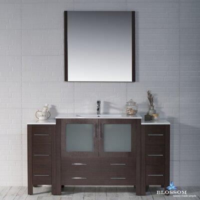 Mance Modern 59 Single Bathroom Vanity Set with Mirror Base Finish: Wenge