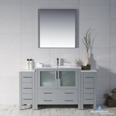 Mance Modern 59 Single Bathroom Vanity Set with Mirror Base Finish: Metal Gray